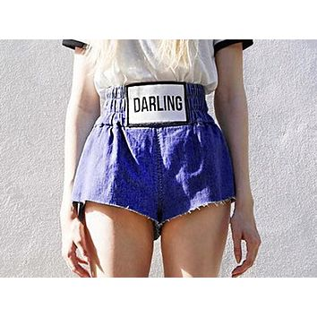 Fashion high-waist printed jeans shorts with elastic bands and wide-legged hot pants