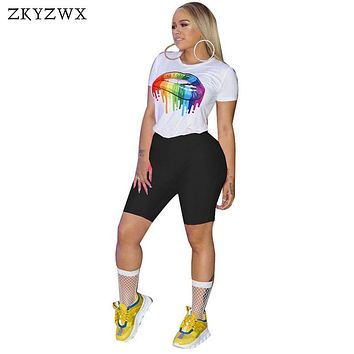 ZKYZWX Print Tracksuit Two Piece Set Women Summer O-Neck Short Sleeve Crop Top And Shorts Suits Casual Biker 2 Pcs Matching Sets