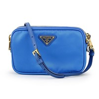 Prada 1N1861 Tessuto Nylon and Leather Crossbody Bag Azzurro Bright Blue