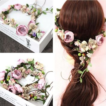 2017 the bride headdress vines manual Flower Wreath rose Flower Crown hair wedding wreath headwear decoration girl