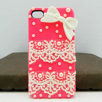 Fashion iphone 5 iphone 4 case case Lace case bows case iPhone cover iphone 3 case HTC case