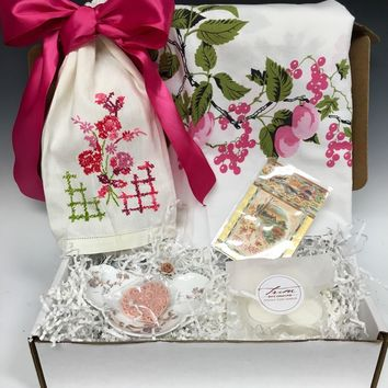 Vintage Inspired Crate Gift Set - Wilendur Pink Floral Tablecloth, Embroidered Linen Guest Towel, Haviland Porcelain Dish & More!