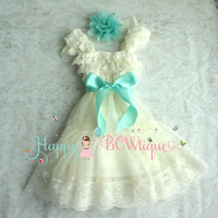 Flower girls dress/ Ivory Aqua Mint Chiffon Lace Dress set