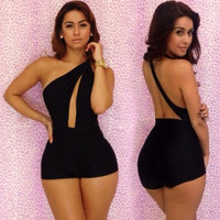 Novelty Backless Women Jumpsuit Bodycon Short Club Wear Overalls Sexy Out Fit Bodysuit S M L