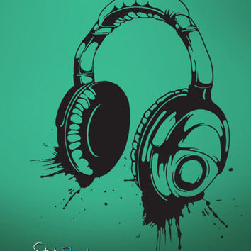 Vinyl Wall Decal Sticker Headphones Music #643