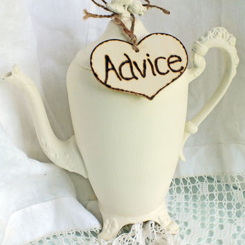 Wedding Advice Card Teapot A Unique Shabby by ButterBeanVintage