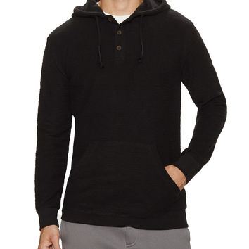 Hooded Henley Fleece Pullover
