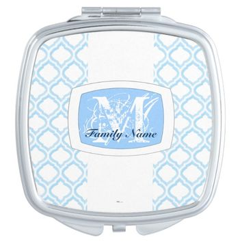 Duo-Tone Moroccan Trellis (Blue) Mirror For Makeup