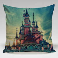 disney castle cool image Square Pillow Case Custom Zippered Pillow Case one side and two side