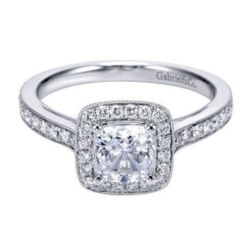 14K White Gold 1.30cttw Classic Cushion Halo Cushion Diamond Engagement Ring