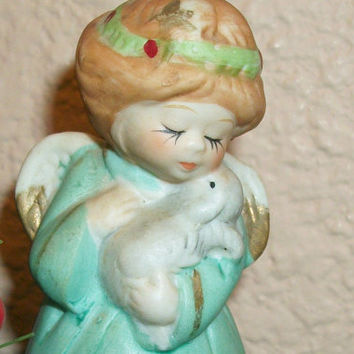 Bell Angel Figurine Vintage Jasco Porcelain Bisque Brown Hair Girl Angel Grey Bunny Rabbit Christmas Holiday Home Decor