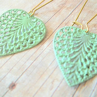 L E A V E S - Mint Green Lace Heart Leaf Hand Painted Filigree Large Dangle Bronze Kindey Wire Earrings