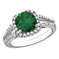 Sorceress - Round emerald color cubic zirconia solitaire with white pavé cz border and split band ring