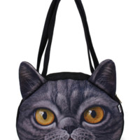 Women 3D Cute Cat Face Shoulder Bag Cat Pattern Handbag Shopping Bags