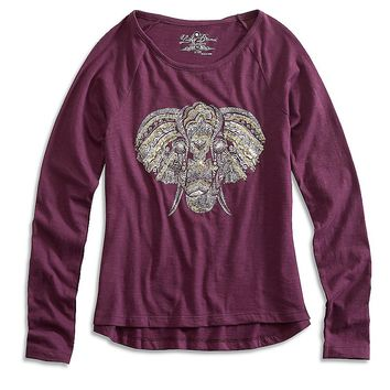 Lucky Brand Ellie Foil Tee Girls - Dark Purple