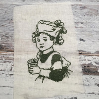 Finished Completed Cross Stitch . Girl with Cupcake  . Cross Stitch Sampler .  Embroidery Art . Nursery Decor .