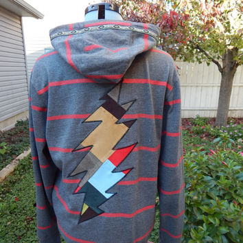 Mens Upcycled Zip Up Gray Striped Grateful Dead Bolt OOAK Size Medium Hippie clothes, hoodie, recycled hoodie, zip up hoodie, guys hoodie