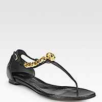 Alexander McQueen - Chain Skull Leather Thong Sandals - Saks Fifth Avenue Mobile