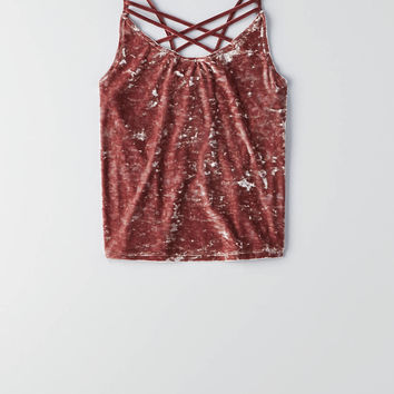AEO First Essentials Velvet Crop Cami, Mauve