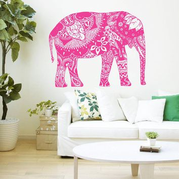Wall Decal Vinyl Sticker Indian Elephant Floral Patterns Tribal Yoga Om Art Decals Om Flowers Wall Sticker Home decor D232