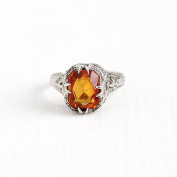 Vintage 14k White Gold Art Deco Citrine Filigree Ring - 1920s Size 3 3/4 Orange Gem November Birthstone Flower Wheat Dainty Fine Jewelry