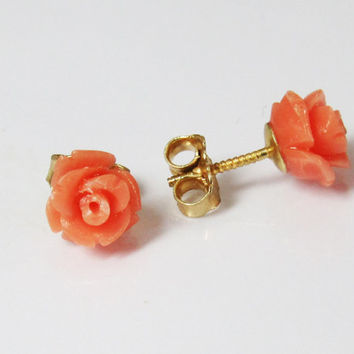 Jewelry Earrings Stud Earrings 14K gold rose coral earrings roses peach flower flower earrings coral jewelry tropical jewelry coral rose