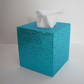 AQUA GLITTER Tissue Box Cover - Sparkling Aqua Blue Decorative Square Cover