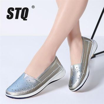 STQ 2018 Spring Women Leather Loafers cutout ballet flats sliver white black walking Shoes Woman Slip On loafers boat shoes 7685