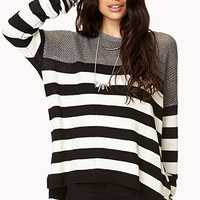 Open-Knit Striped Sweater