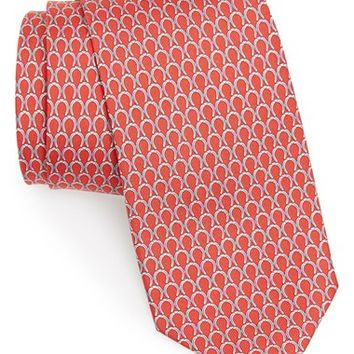 Men's Salvatore Ferragamo Horseshoe Print Silk Tie, Size Regular
