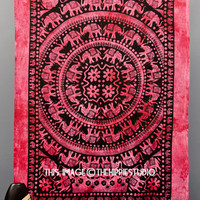 Elephant Mandala Tapestries, Hippie Tapestries, Tapestry Wall Hanging, Bohemian Wall Tapestries, Boho Bed Coverlet, Dorm Bed Tapestry Throw