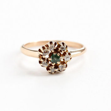 Antique 10k Rosy Yellow Gold Rose Cut Diamond & Simulated Emerald Cluster Ring - Vintage Edwardian Early 1900s Green Doublet Fine Jewelry