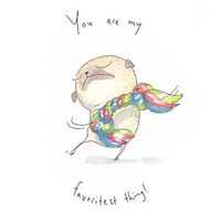 You Are My Favoritest Thing - Cute Pug Love Art - Pug Art Print from an original Ink & Watercolor Illustration by InkPug!