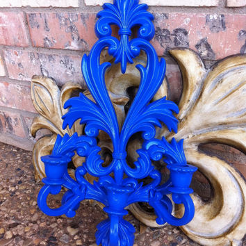 Ornate Sconce Cobalt Hollywood Regency Scroll Baroque Flourish Wall Art Restaurant Decor Funky Decor