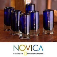 Set of 6 Blown Glass 'Pure Cobalt' Shot Glasses (Mexico) | Overstock.com