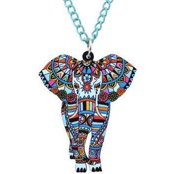 Statement Maxi Acrylic Africa Jungel Elephant Choker Necklace Chain Collar Pendant Collar Fashion New Jewelry Women