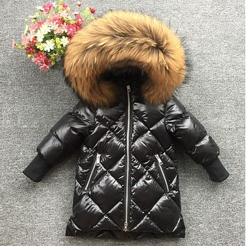 2017 kids baby fur hoodie feather print girls winter coat winter jacket long baby girls White duck down soft parks down