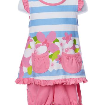 Three Friends Baby Girl Bright Pink Two Piece Set
