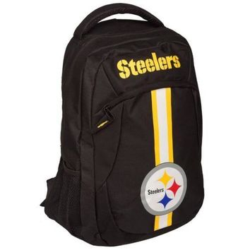 * Pittsburgh Steelers Action Backpack Back Pack School Book Gym Bag