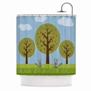 """Cristina Bianco Design """"Cute Raccoons And Apple Trees"""" Green Blue Illustration Shower Curtain"""