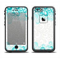 The Teal Blue & White Swirl Pattern Apple iPhone 6 LifeProof Fre Case Skin Set
