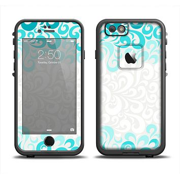 The Teal Blue & White Swirl Pattern Skin Set for the Apple iPhone 6 LifeProof Fre Case