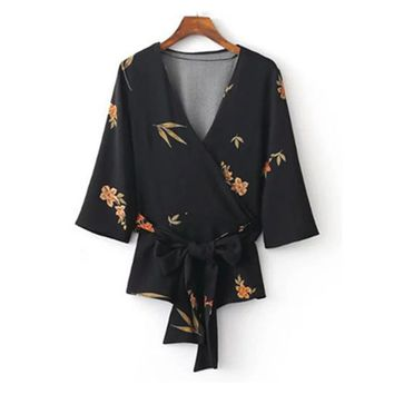 Woman Kimono Blouse Printed Shirt Sexy Deep V neck Tops Sashes Bow Half Sleeve Blusas mujer Camisa femininas