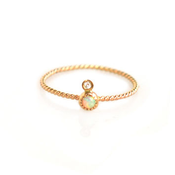 Twisted Opal and Diamond Babe Ring
