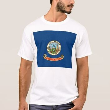T Shirt with Flag of Idaho State USA