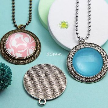 25mm Pendant Trays Kits-Blank Bezel Cabochon Setting 25mm-Round Glass Cabochons-Roll or Ball Chain Necklace-Craft kits DIY Pendant Necklace