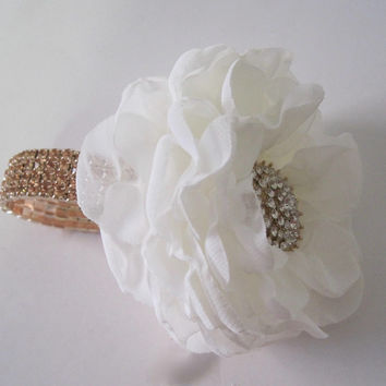 Rose Gold Rhinestone Wrist Corsage with Ivory Chiffon Flower Designed in Your Colors Custom Order Wedding Prom Homecoming Winter Formal