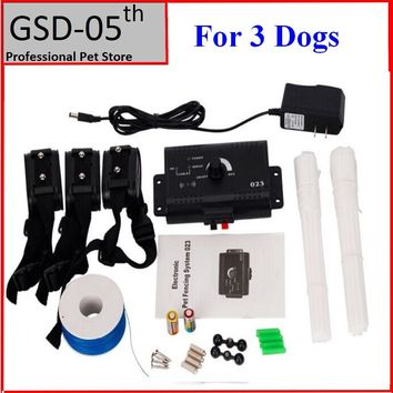 3 Dogs Underground Electric Shock Dog Pet Fencing System InGround Dog Fence Collar Dog Training Trainer Collar
