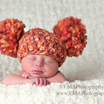 Crochet Baby Hats Pom Pom Hat Newborn Photo Prop by knoodleknits