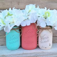 Coral Teal and Cream-Set of Mason Jars-Cottage Chic Decor-Painted Mason Jar Decor-Nursery-Baby Shower Decor-Wedding Shower-Table Centerpiece
